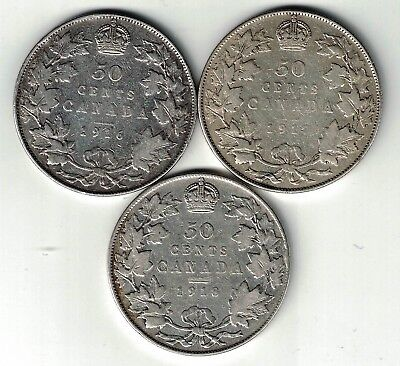3 X Canada 50 Cents Half Dollars George V Sterling Silver Coins 1916 1917 1918