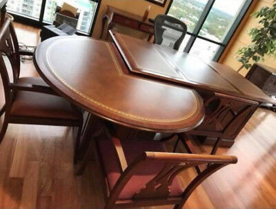 Antique Style Mahogany Partners Desk with matching attachable conference table