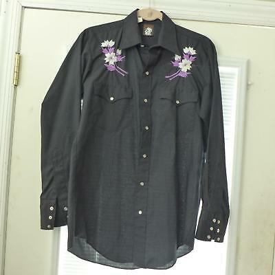 vtg Karman Cowboy Shirts Black Western Pearl Snap Embroidered Purple Flowers S-M