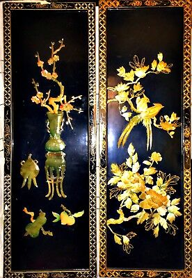 Antique Japanese Mother Of Pearl Black Lacquer Wall Panels