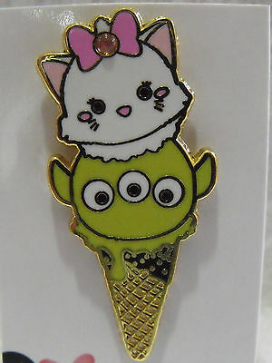 2016 Disney Booster Trading Pin HKDL Tsum Tsum Ice Cream Cone Marie & Toy Alien