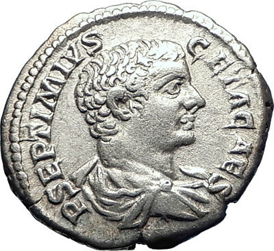 GETA as CAESAR 207AD Rome Authentic Ancient Silver Roman Coin Minerva i73401