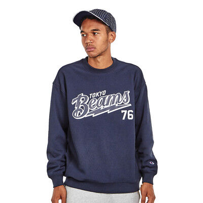 Champion x Beams - Crewneck Sweatshirt 3 New Navy Pullover Rundhals