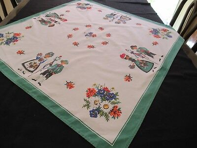 Vintage small SWISS or AUSTRIAN FOLK ART Tablecloth with national costumes etc