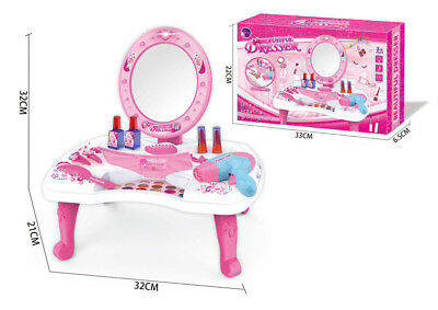 Play Toys Hair Dryer Make Up Dressing Table Gift Set with Mirror for Girls
