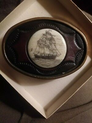 Vintage Skrimshaw Tall Clipper Ship Belt Buckle Brass leather BTS 1978 Maui