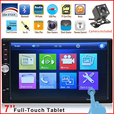 "Bluetooth Car Stereo Radio 2 DIN 7"" HD MP5/MP3 FM Player Touch Screen + Camera"