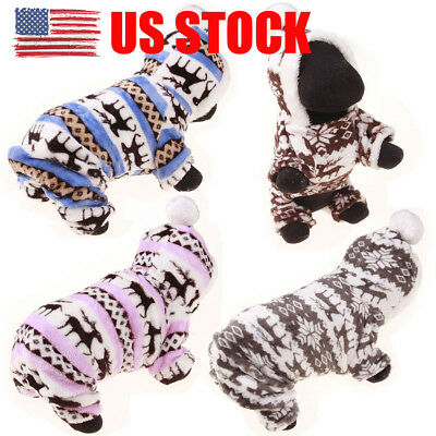 US Stock! Pet Clothes Dog Pajama Cute Soft Cotton Puppy Teddy Cat Sleepwear Coat