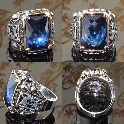 Men's Classic Vintage Large Blue Sapphire 925 Silver Party Rings Jewelry SZ 6-10