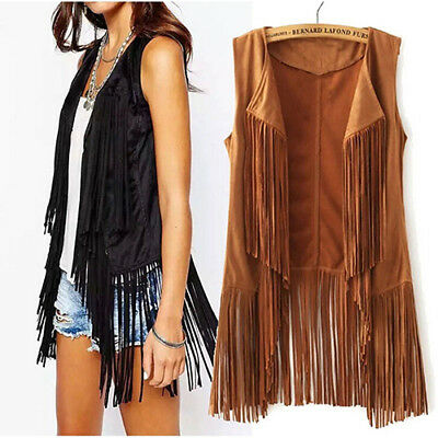 Women Autumn Winter Faux Suede Ethnic Sleeveless Tassel Fringed Vest Cardigan