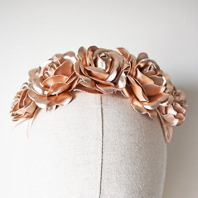 Rose Gold Fascinator Faux Leather Flower Crown Rose Headband Races Wedding