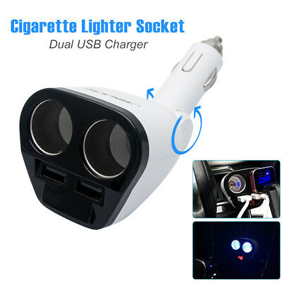 LED Double Socket Car Charger Cigarette Lighter Adapter Splitter 12-24V Dual USB