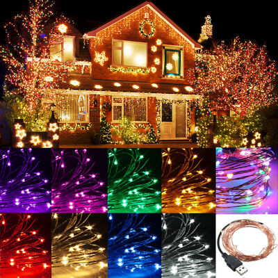 2/5/10M 20-100 LED String Copper Wire Fairy Lights USB Xmas Party Fairy Decor