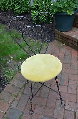 True Vtg Wrought Iron Patio Garden Ice Cream Parlor Heart Chair! Pick Up 11780