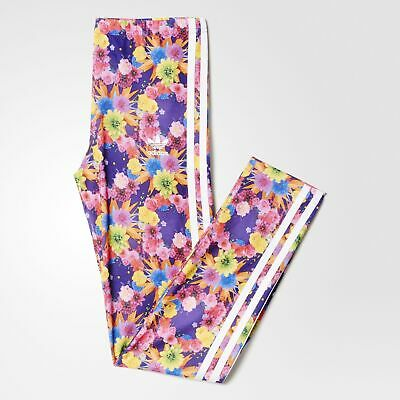 adidas Originals Girl's Flower Floral Print Stretch Leggings Sport 3 Stripe Pink