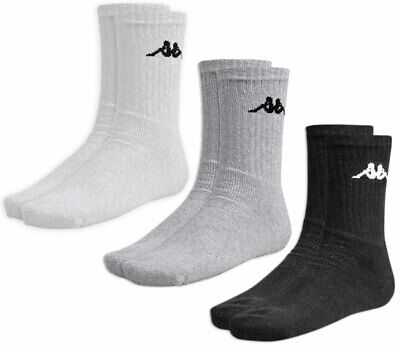Kappa Classic 3-Pack Men's Crew Tennis Socks Athletic Sport Gym White Grey Black