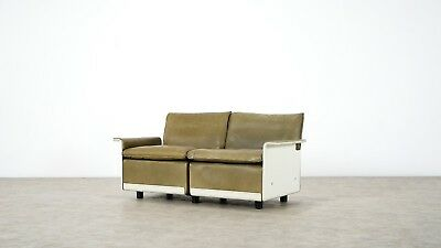 Dieter Rams | Sofa RZ 62 in Olivgreen Leather by Vitsœ, Two-Seat