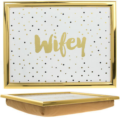 Lap Tray Gold Edge Wifey Hubby Laptop Table On Bed Portable Breakfast Desk Gift