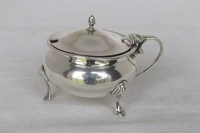 A Large Antique Solid Sterling Silver Mustard Pot & Glass Liner London 1918.