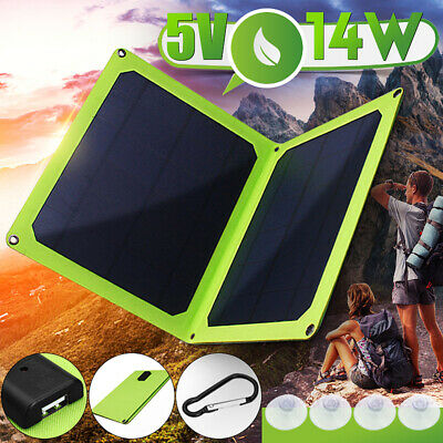 5V 14W Solar Panel Folding Portable Power Charger USB Camping Phone Charger