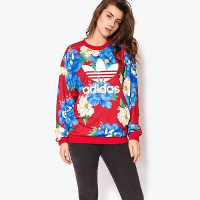 new concept d03d5 5984c adidas Originals X FARM Women s Chita Floral Print Boyfriend Fit Sweatshirt  Red