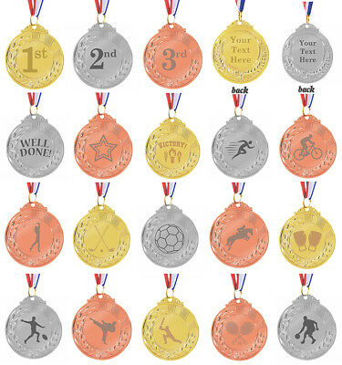 Custom Engraved Gold Silver Bronze Coloured Medals Personalised Sports Trophy