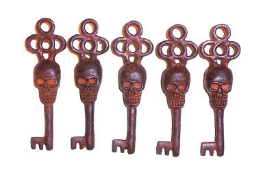 Victorian Skull Key Vintage Antique Style cast Iron Skeleton Key lot of 5