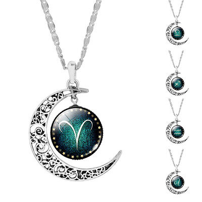 Zodiac Sign Necklace Horoscope Birthday Gift moon Blue Astrological Silver