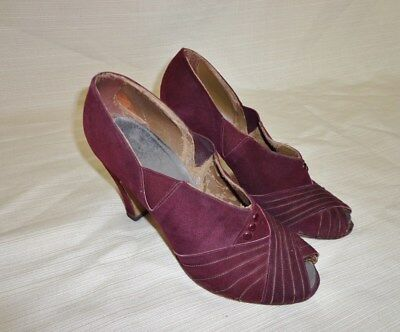 Wine Red Suede Leather PEEPTOE Vintage 1940's WWII Women's Pumps Shoes 5