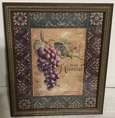"Homco Home Interiors Picture 13.5 x 11.5"" Grapes pink Muscat Wood Frame Ornate"