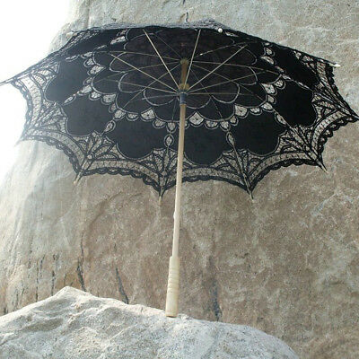 Retro Black Lace Embroidered Sun Parasol Umbrella Bridal Wedding Photo Prop