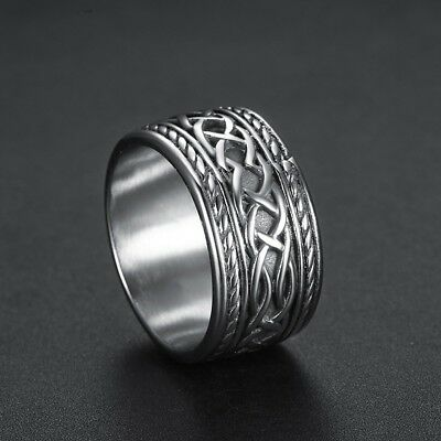 Mens Heavy Solid 316L Stainless Steel New Retro Celtic Ring Jewelry Size 7-15 US