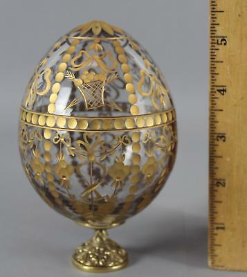 Small Vintage Faberge Russian Egg Gold Gilt Hand Cut No Reserve