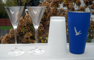 2 Grey Goose Vodka Crystal Martini Glasses and Stainless Steel Cocktail Shaker