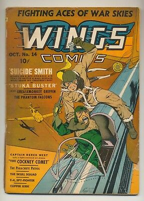 Wings Comics #14 (1941) FR (1.0) Gene Fawette WWII Aviation Cover  Fiction House