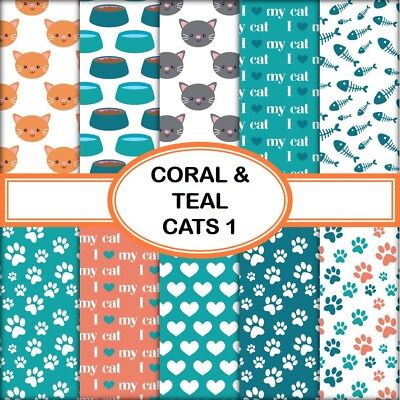 CORAL & TEAL CATS 1 SCRAPBOOK PAPER - 10 x A4 pages
