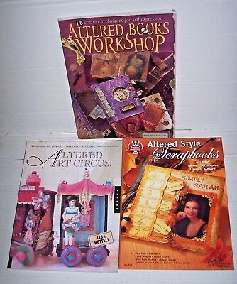 Lot 3 Altered Style Art Books Workshop Circus Scrapbook mixed media techniques +