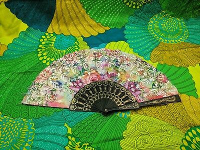 Folding Chinese Hand Fan Costume Party Rainbow Floral w/ Glitter, Plastic Handle