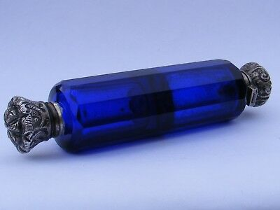 Antique Victorian Double Ended Silver Topped Scent Salts Bottle, Cobalt Blue.