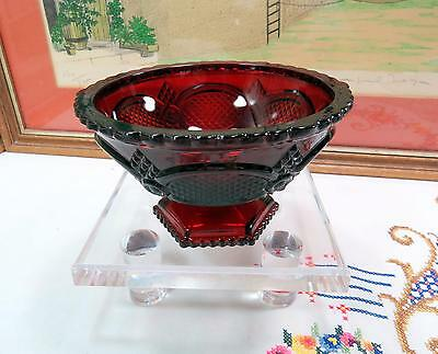 """Vintage Avon Cape Cod Ruby Red Open Candy 6"""" Pedestal Dish 1975-1992"""