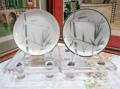"""2 Vintage Winfield Ware Green Bamboo California Pottery 5 3/4"""" Bread Plates"""