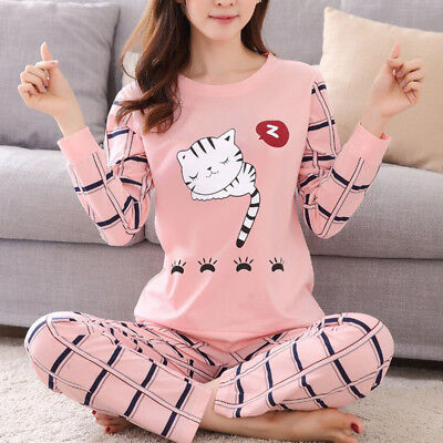 Women Girl Cute Cat Long Sleeve Pajamas Set Pjs Matching Pyjamas Adult Sleepwear