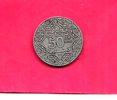 Morocco French Y35.2 1924 Vf-Very Fine-Ncie Old Antique Vintage 50 Centimes Coin