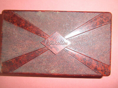CIGARETTE BOX STUNNING UNUSUAL ART DECO RED MARBLE BAKELITE 14.5cm x 8.5cm x 3cm