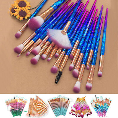 20 PCS Unicorn Diamond Make up Brushes Set Foundation Eyeshadow Lip Tools Powder