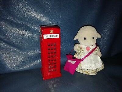 Sylvanian Families Dolls House Traditional Red Telephone Box With Animal Lamb