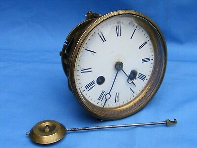 Antique French, 2 Train, Bell Striking Clock Movement, Working.
