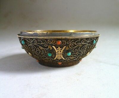 Chinese Antique Gilded SILVER BOX. Gold, Gemstone, Tibet. Missing Lid