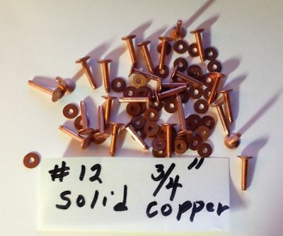 "#12 (SIZE 12) SOLID COPPER RIVETS & BURRS/WASHERS 3/4"" Long_12 Sets_U.S. SELLER"