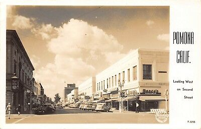 E28/ Pomona California Ca Postcard Real Photo RPPC c40s Second Street Stores
